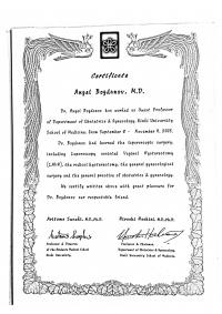 Сертификат за ендоскопска хирургия към Kinki Hospital (Япония)(изображение)